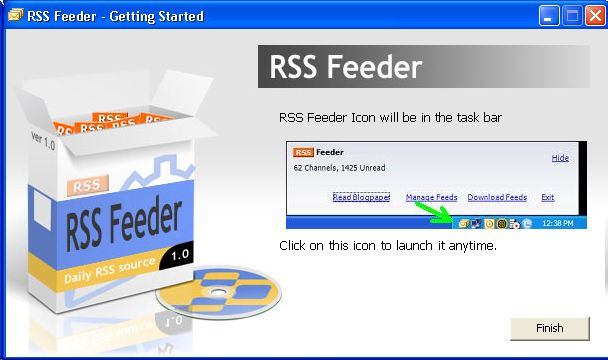 RSSFeeder - Installation Splash Screen & Interface